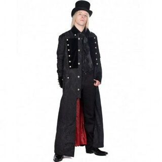 Aderlass - Admiral Long Coat Brocade - schwarz