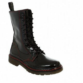 Boots & Braces - 10-Loch - easy - bloody patent - schwarzer Lack mit roter Naht